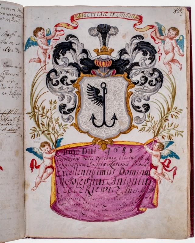 Herb własny, konsyliarz Józef Antoni Częczkiewicz, asystent Jakub Ozgiewicz , asystent Tomasz Szołdrski, 1688, fot. Piotr Jamski